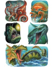 Sea monster stickers for Peaceable Kingdom by Jeff Crosby