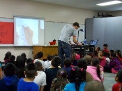 Wiener Wolf presentation with me drawing the illustrations for the sequel that the kids are creating.