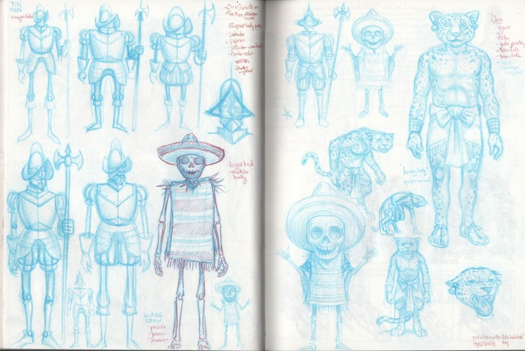 El Mago de OZ - thumbnails 1, Jeff Crosby, color pencil on sketchbook