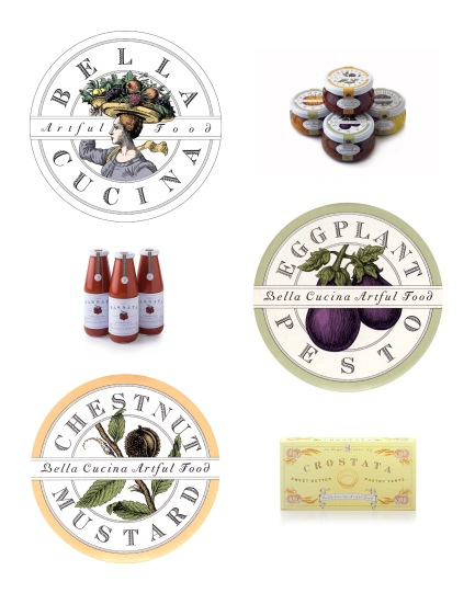 Bella Cucina logo and labels, Louise Fili Ltd.